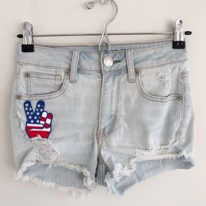American Eagle Hi-Rise Shortie Cutoff Blue Short 0